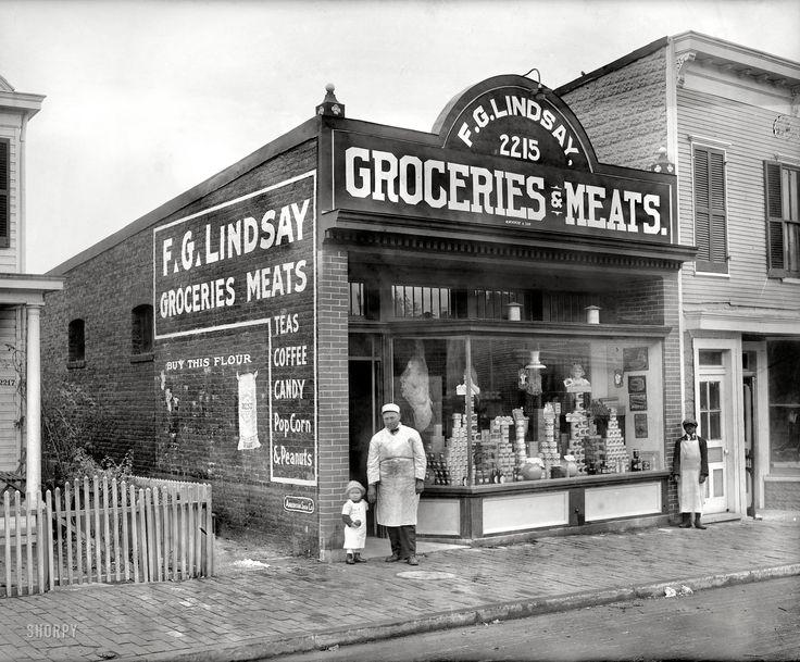 "Washington, D.C., circa 1925. ""F.G. Lindsay store front, Anacostia, 2215 Nichols Avenue."" National Photo Co."