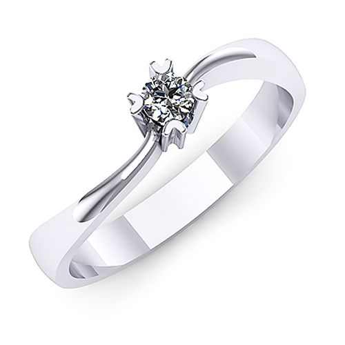 Inel logodna F23ADI INEL DE LOGODNA REALIZAT DIN AUR ALB 14K CU UN DIAMANT * Piatra principala: diamant 1buc x ~2.80mm - greutate: ~0.08ct
