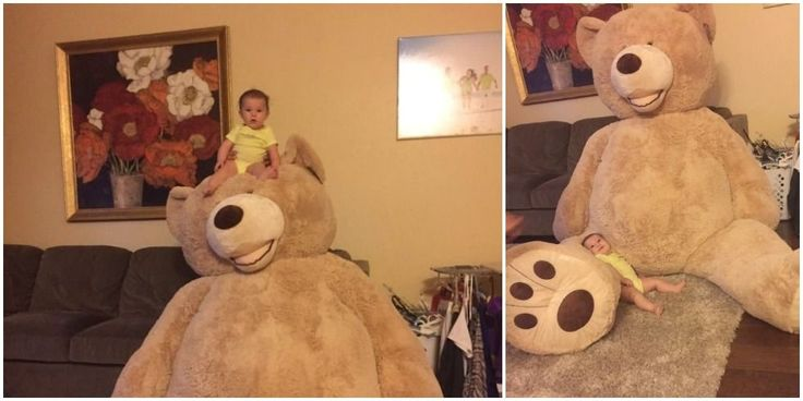 Let this be a lesson to never joke about your child needing a massive teddy bear in front of a grandparent.