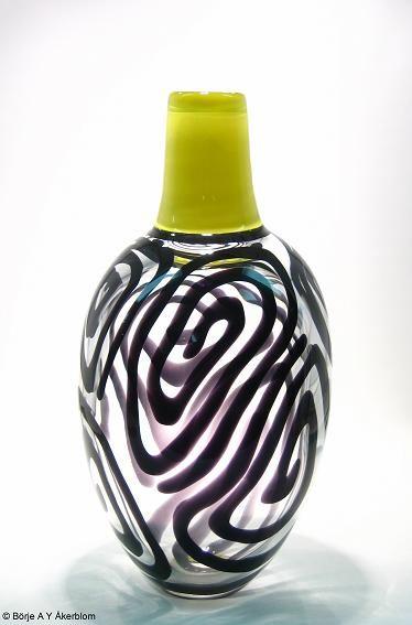 "Ann Wåhlström (b.1957). Vase ""Labyrinth"", designed in 1992  for Kosta Boda, Sweden."