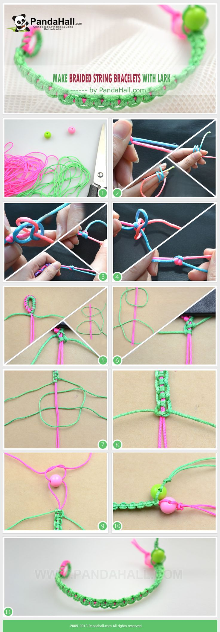 Today I will present you one kind of beautiful and simple string bracelets; this article is going to teach you how to make braided string bracelets with lark's head knots.