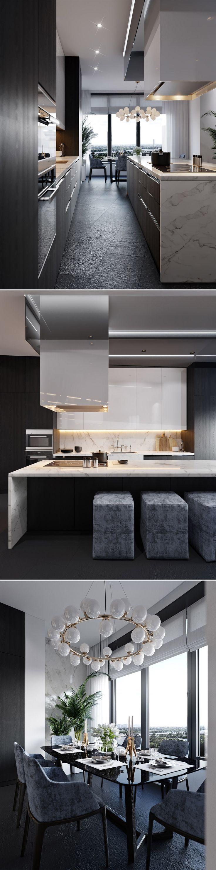 Cosmo condo kitchen showroom paris kitchens toronto - Love The Play Of White Gloss Between The Matt Black Stone Detail Splashback To Island Waterfall Ends