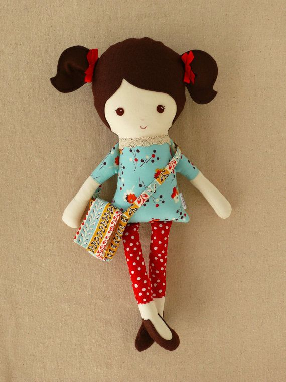Reserved for Anna N. - Fabric Doll Rag Doll Girl with Satchel
