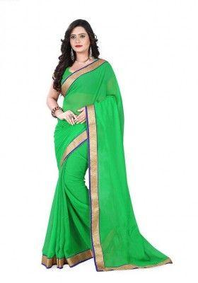 Sizzling Green Chiffon 60 Gm Saree with Green Chiffon 60 GM Blouse