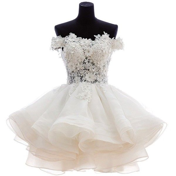 Snowskite Womens Lovely Short Cute Princess Homecoming Prom Dress (205 CAD) ❤ liked on Polyvore featuring dresses, white cocktail dresses, white dress, short dresses, prom dresses and short cocktail dresses