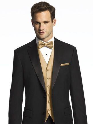 Dessy Paragon Pocket Square Groomsmen Accessory | Weddington Way....except with a gold tie ;)