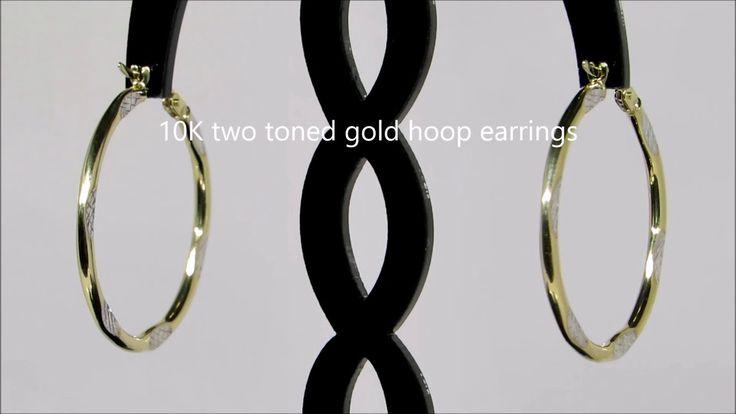 10K Two Toned Gold Earrings