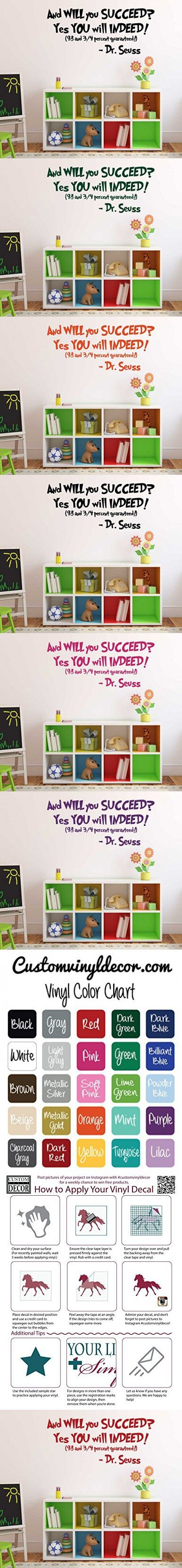 "Dr Seuss Quotes Wall Decal Vinyl Decor ""And Will You Succeed? Yes You will Indeed!"" Saying for Kids Playroom, Bedroom, Baby Nursery, School Classroom, Library, Preschool, Day Care"