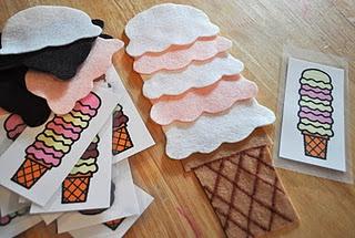 Ice Cream Color Patterning - Preschool Activity w/ felt