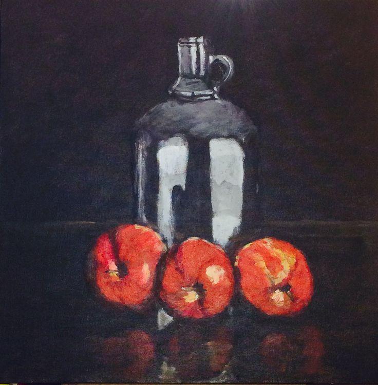 Fles met appels. Acryl op doek. 50 x 50 cm