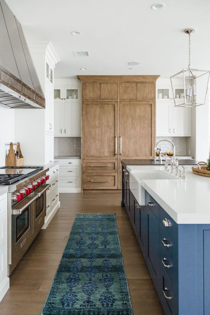 Blue, white, natural wood kitchen