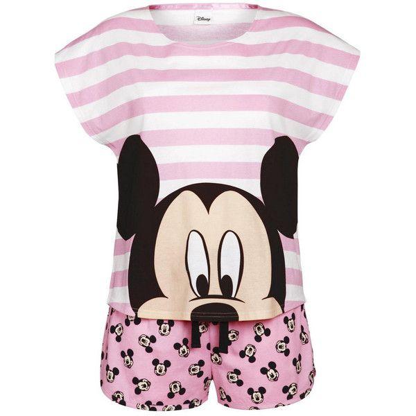 Disney Mickey Mouse Striped Shorts Pyjamas ($17) ❤ liked on Polyvore featuring intimates, sleepwear, pajamas, pyjamas, pijamas, disney, mickey mouse pjs, striped pjs, striped pajamas and striped pyjamas