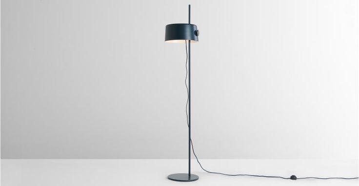 Zoom staande lamp, grijsblauw en messing | MADE.com