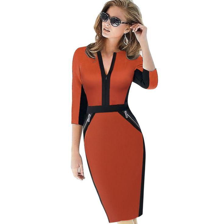Plus la Taille Avant Zipper Femmes Vêtements de Travail Élégant Stretch Dress Charme Moulante Crayon Midi Printemps D'affaires Décontractée Robes 837