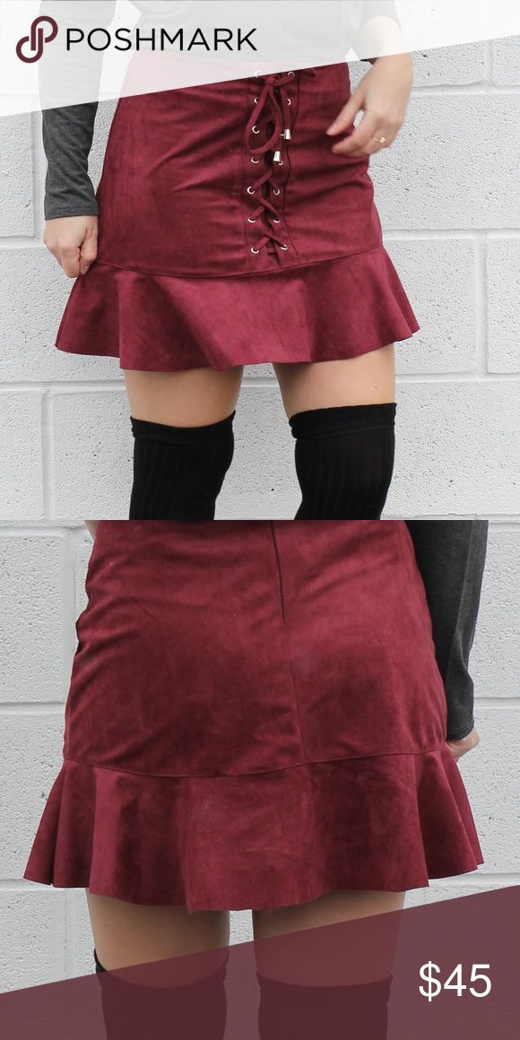 "Weeknd - Ruby Faux Suede Skirt PRICE FIRM. NO TRADE. Get ready for the weekend in this skirt, because your guy will be ""tryna get you out the friend zone 'cause you look even better than the photos.""  Ruby faux suede trumpet skirt Lace detail front Silver tone detail Zipper and hook back closure Pout Loud Skirts Mini"