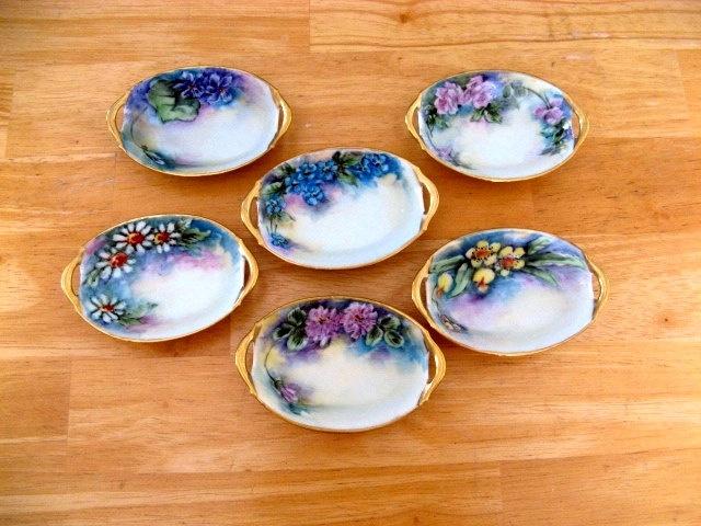 Bavaria Salt Dishes Hand Painted Porcelain Salt Cellars Open Salts Salt Dips Set of 6. $35.00, via Etsy.