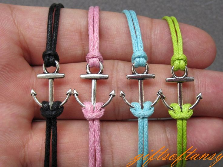 Anchor Bracelet-- Cute Silver Anchor Bracelet, Black Wax Cords Braclet, Best Gift for Friend---C223. $1.49, via Etsy. But I bet I can do these myself.