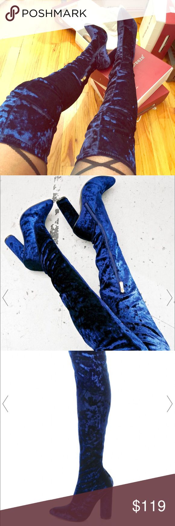 New fall collection by viviglam 🍁👢🍂👢 Super sexy new fall collection royal blue velvet over the knees chunky heels stylish celebrity boots new in a box gorgeous 🍁👢🍁👢 Shoes Over the Knee Boots