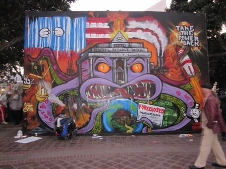 Occupy Wall Street protest mural