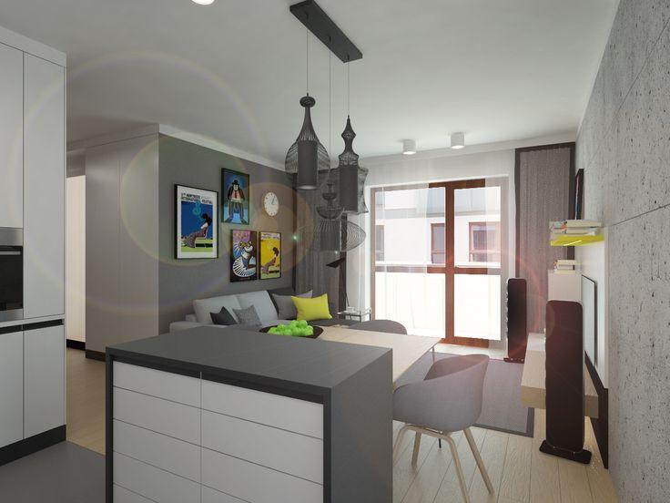 Kitchen & living room design. Apartment 64m2 . Warsaw, Poland. www.artandarchitecture.pl