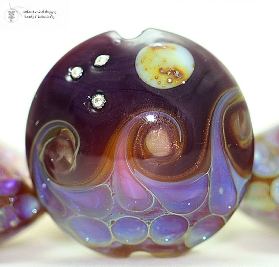 Glass lampwork bead Kalypso Ocean Moon lentil by radiantmind, $15.00