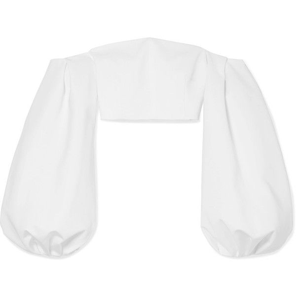 Cushnie et Ochs Carlita cropped off-the-shoulder cady top ($745) ❤ liked on Polyvore featuring tops, white, floral off shoulder top, white off shoulder top, off-shoulder tops, cut-out crop tops and puffed sleeve top