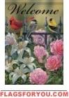 Floral Gate Birds House Flag