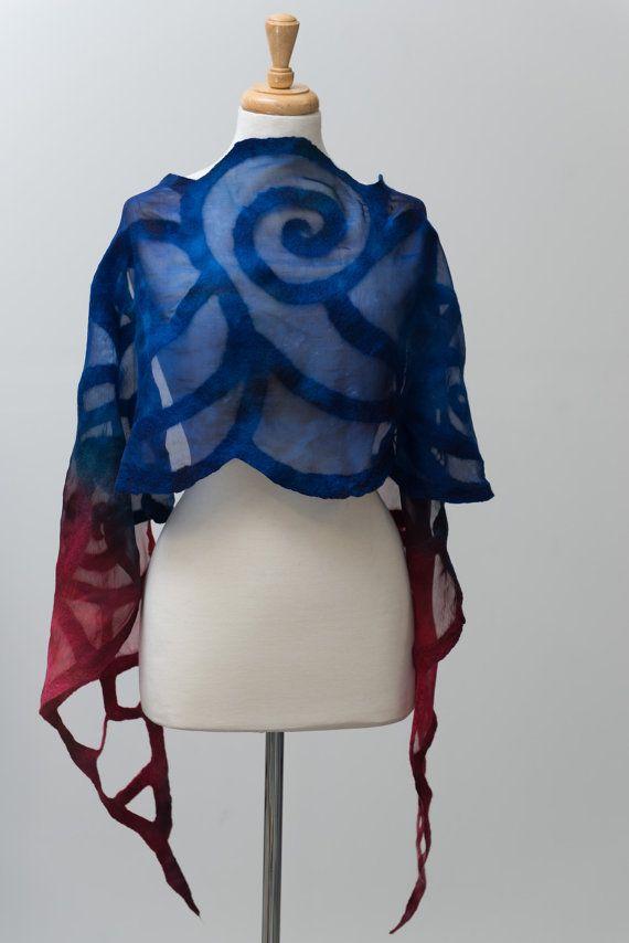 Nuno felted scarf, felted scarf, felt scarf, Nuno felt,silk scarf, wool, silk, Red, Navy blue, spiral pattern, delicate,