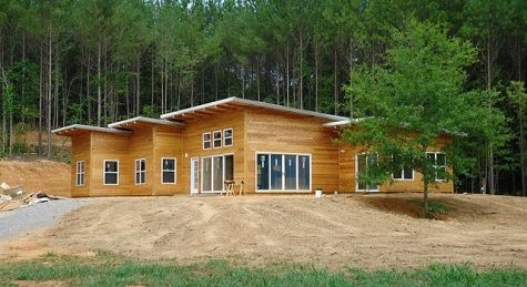 Eco-friendly prefab home structure from Kokoon Homes. This 3 bed, 2 bath, 2003 sq feet model is $33-$43,000. You'd still have to finish all the interior + exteriors, but goodness this is amazing. They can even customize it to be 100% off-grid! Wah