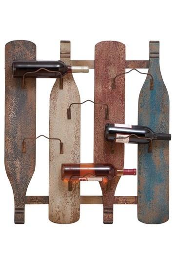 Wood Metal Wall Wine Holder