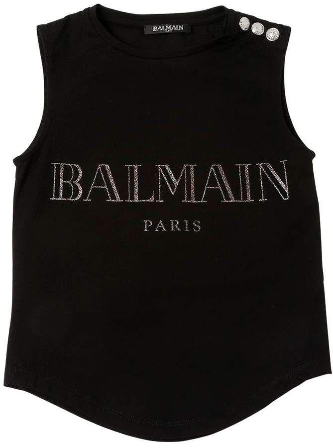 bca107d2 Balmain Logo Cotton Jersey Sleeveless T-Shirt | Products | Balmain ...