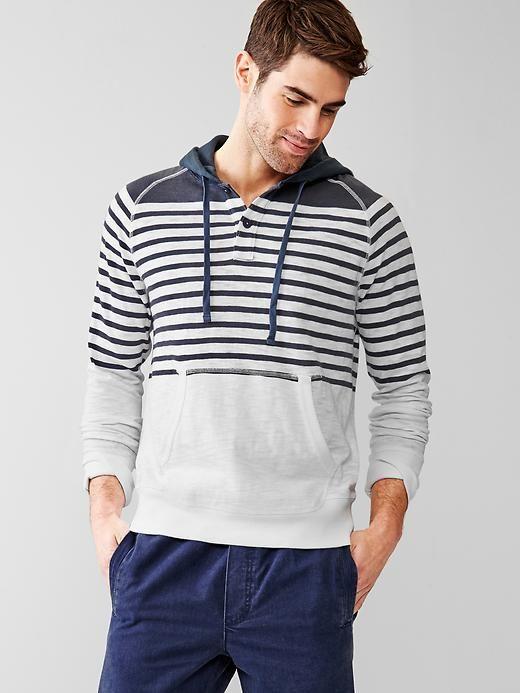 Slub stripe henley hoodie
