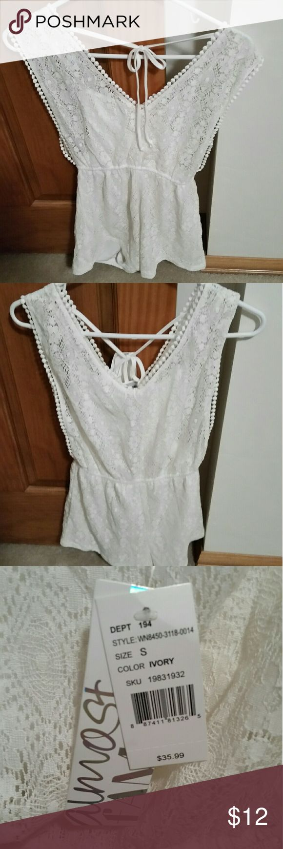 Romper White Junior's Small Lace white small junior's romper. Would also make a great swim suit cover up. Almost Famous Swim Coverups