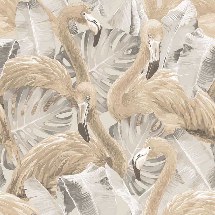 Flamingo wallpaper in neutral cream, grey and beige tones