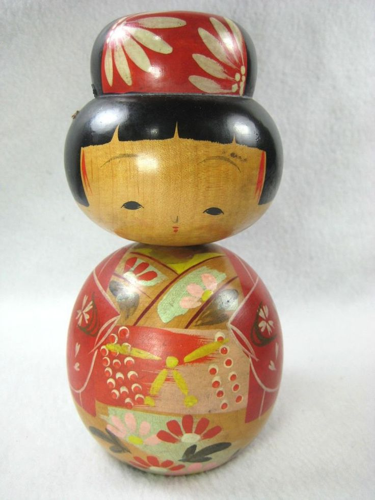 From the early Showa Era (c. 1930's), this is a hinoki wood KOKESHI doll of a cute girl doll in kimono.She is all hand lathe turned and hand painted. She is made in two pieces with a third removable hair piece. | eBay!
