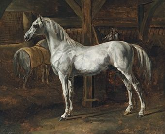 Théodore-Jean-Louis Géricault (French, 1791-1824)  Cheval blanc debout dans une écurie (Tamerlan, étalon des écuries de Versailles): White horse standing in a stable (Tamerlan, stallion of the Versailles stables) oil on canvas  17¾ x 21½ in. (45.2 x 54.6 cm.)  Painted circa 1810-1813. -Christie's.