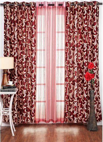 Wonderful Tree Set Of 3 Maroon #Curtains. Add A Royal Touch To Your Living Room Part 13