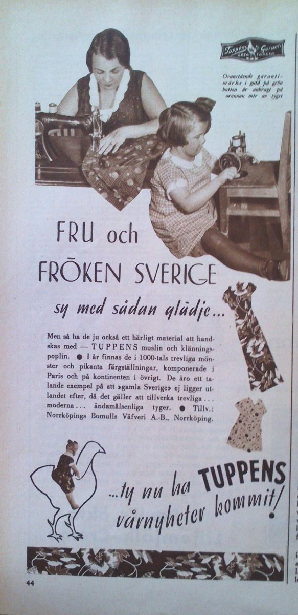 "Ad for Swedish fabric brand ""Tuppen"" 1933"