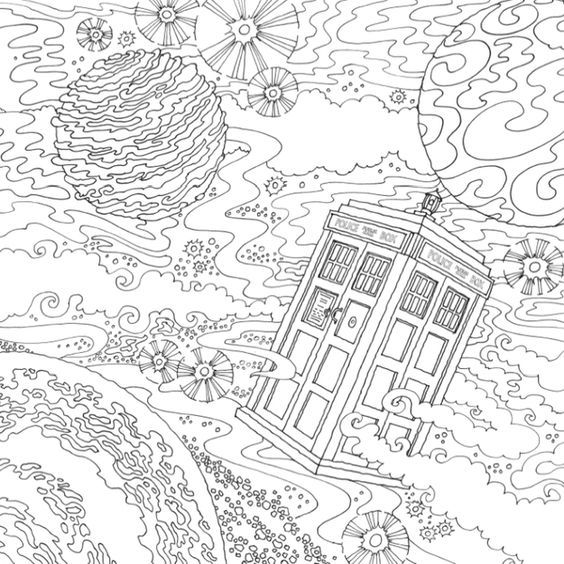 Coloring Pages To PrintColoring For AdultsColouring PagesColoring SheetsAdult ColoringColoring BooksDoctor Who TardisDoctor PoemGeek Crafts