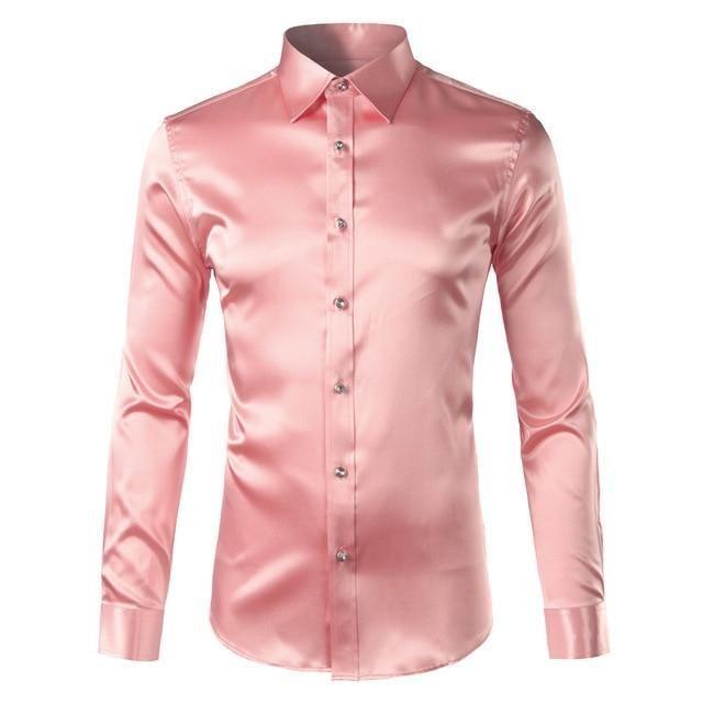 Silk Shirt Men 2017 Satin Smooth Men Solid Tuxedo Shirt Business Chemisedresslliy