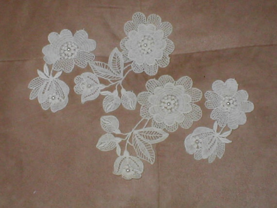 lot of 4 vintage Ivory Cotton Venice Lace by yesteryearglam, $13.95