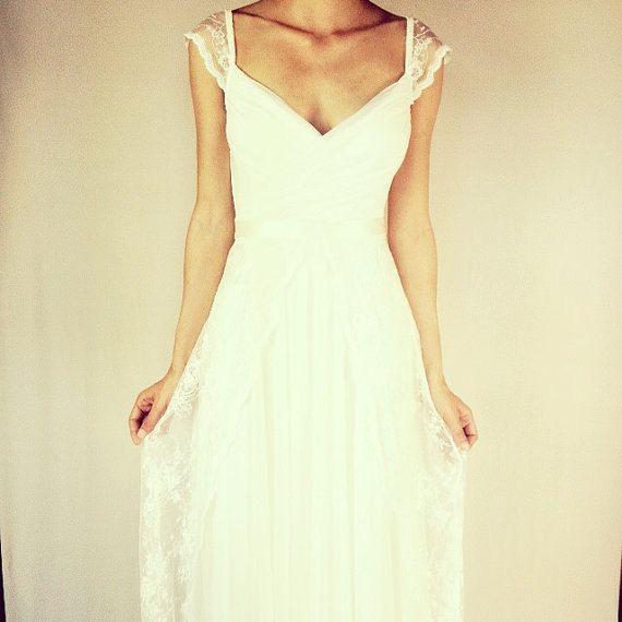 Keira – Boho wedding dress, Lace wedding dress, backless wedding dress, beach wedding dress, bohemian wedding dress, lace boho bridal gown