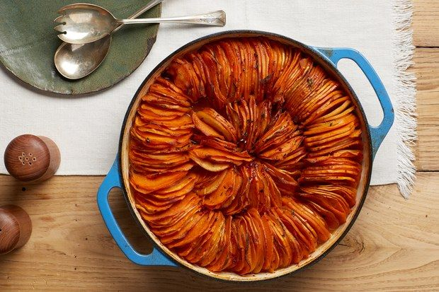 With apple cider, Aleppo pepper, and fresh thyme, this pretty dish offers a lighter take on your usual Thanksgiving sweet potato casserole.