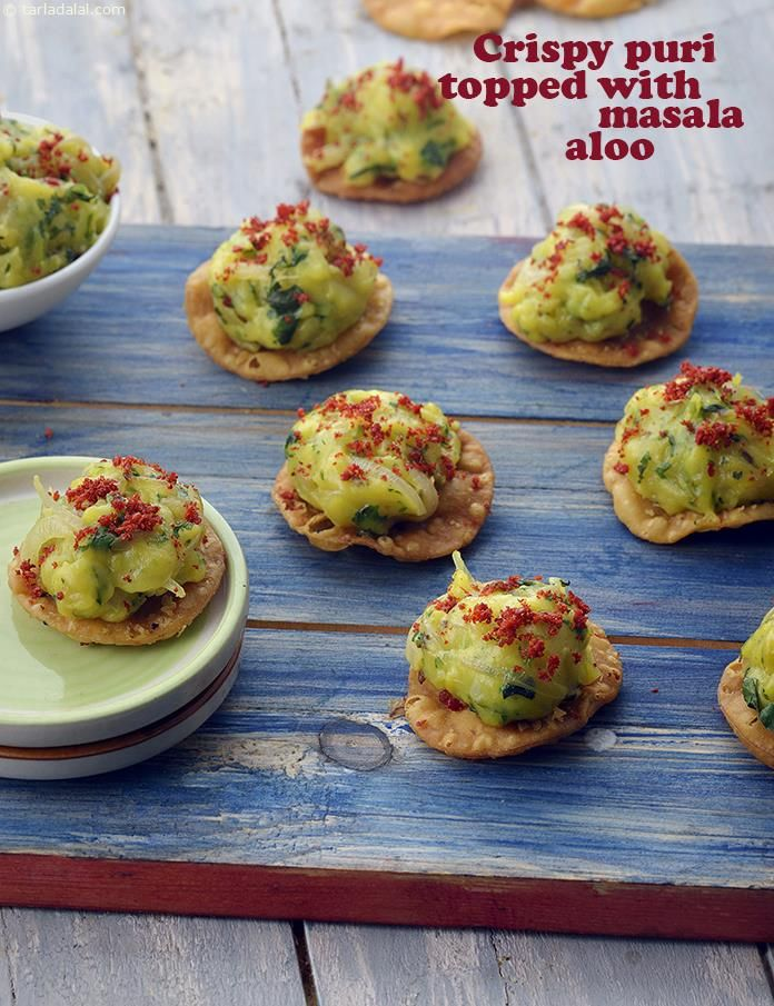 Crispy Puri Topped with Masala Aloo recipe | by Tarla Dalal | Tarladalal.com | #41262