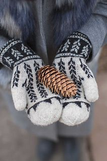 "The Ibex Valley Mittens honor the prairies of northern Canada with pictorial stranded motifs that show tiny plants under the snow that then ""grow"" above ground toward the sun. Worked in rustic yarn, these toasty woolen mittens are as practical as they are charming. They're lined in a rich red that calls to mind cozy flannel, ripe apples, falling maple leaves, and glowing hearth fires."