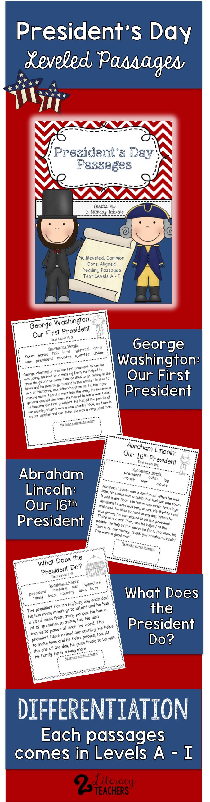 worksheet Leveled Reading Passages reading passages 17 presidents day cc
