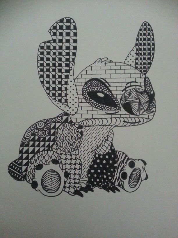 Disney's Stitch Zentangle by Andrea S. Henriquez Disney