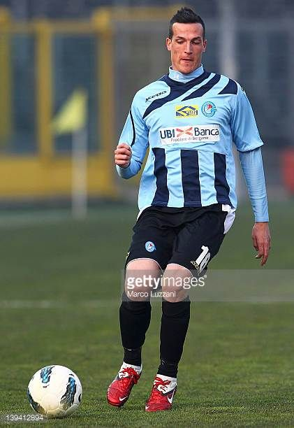 Andrea Cristiano of UC AlbinoLeffe in action during the Serie B match between UC AlbinoLeffe and Pescara Calcio at Stadio Atleti Azzurri d'Italia on...