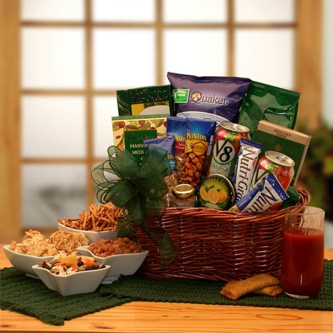 Give the gift that says you care, the Heart Healthy gift basket. This wicker stained basket brings gifts of good health to your friends and family. Everything the doctor ordered is right here, totally