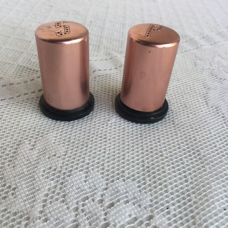 Copper Colored Salt And Pepper Shakers / Vintage Mid Century Coppertone Aluminum Salt n Pepper Shakers by vintagepoetic on Etsy